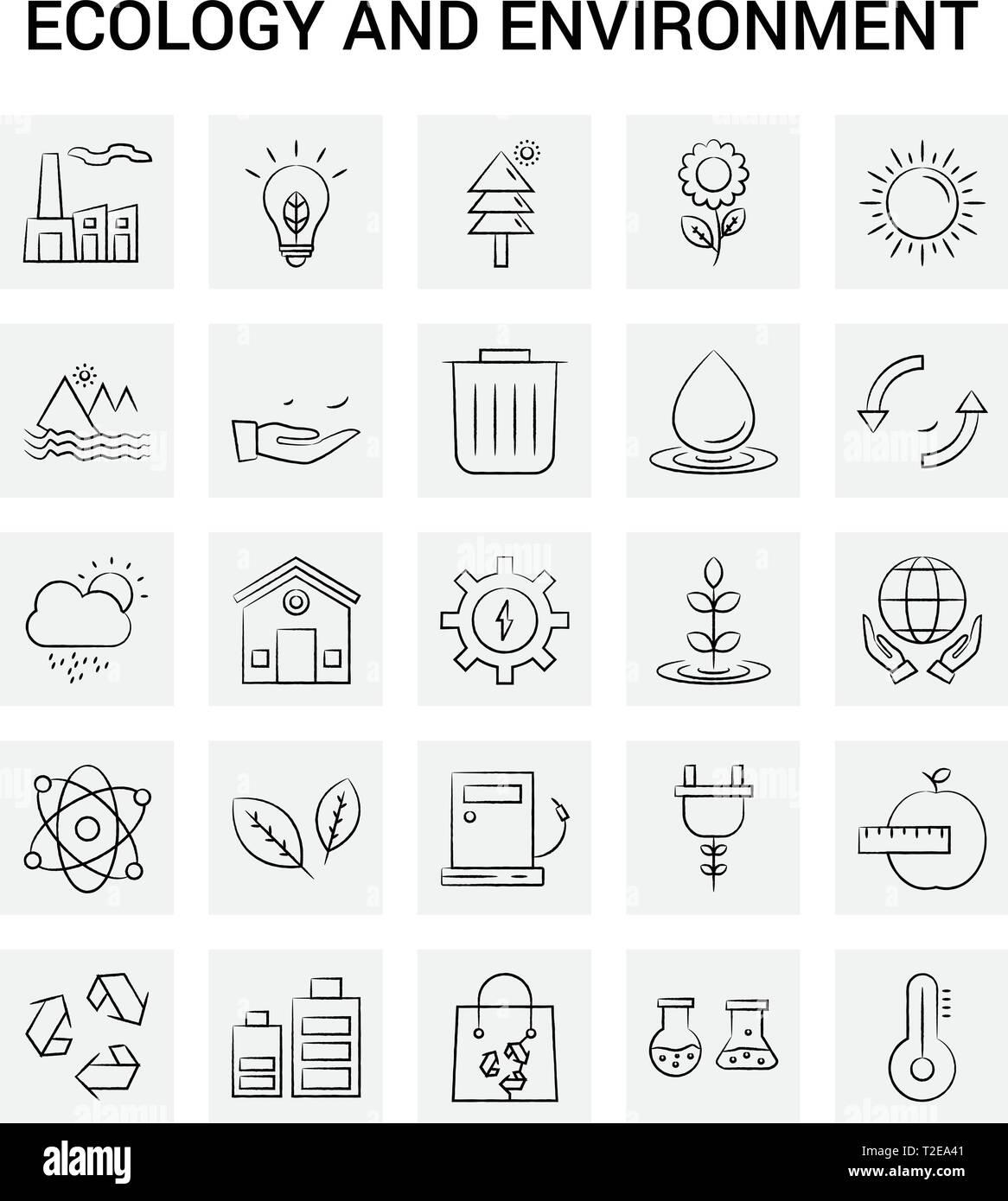 25 Hand Drawn Écologie et environnement icon set. Doodle Vecteur Fond gris Illustration de Vecteur