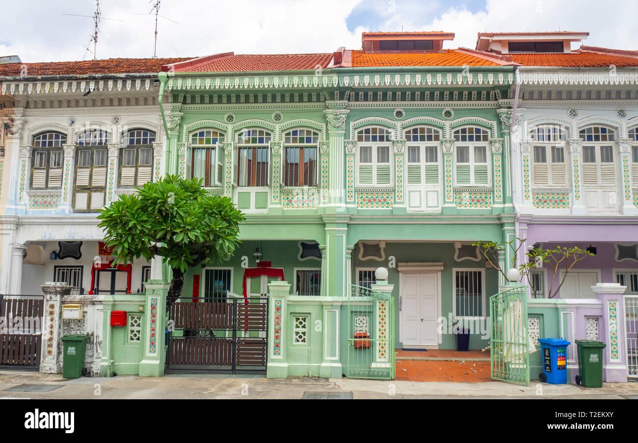 Maison Peranakan colorés populaires avec instagrammers sur Koon Seng Road, Joo Chiat, Geylang, Singapour. Banque D'Images