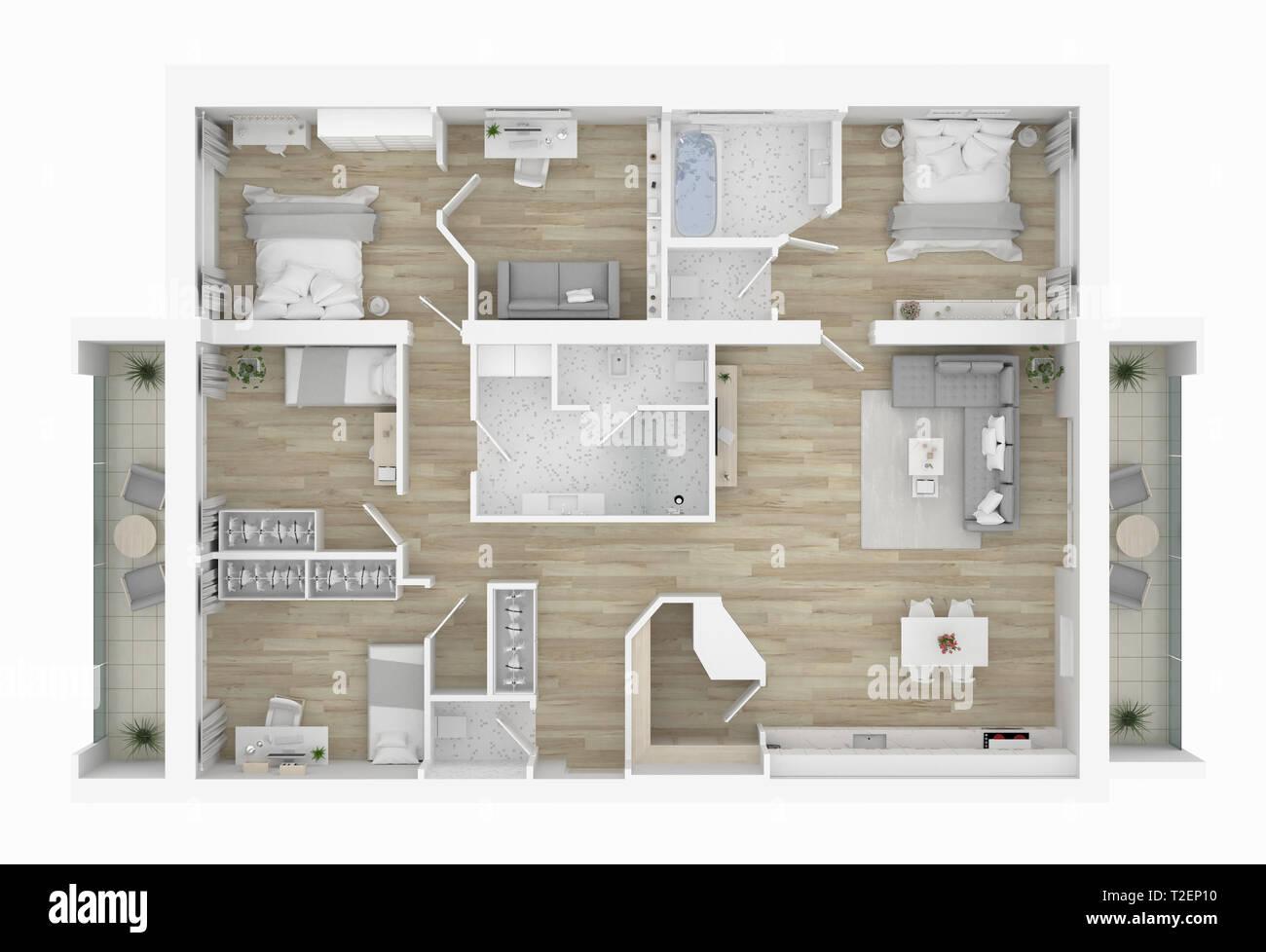 Plan D Etage 3d D Une Maison 3d Illustration Ouvrir Concept Living Appartements Photo Stock Alamy
