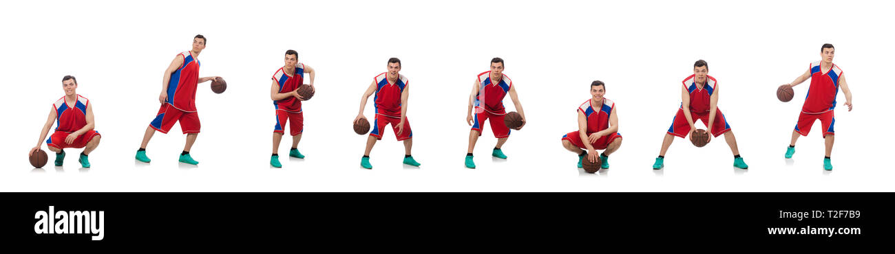 Jeune joueur de basket-ball isolated on white Banque D'Images