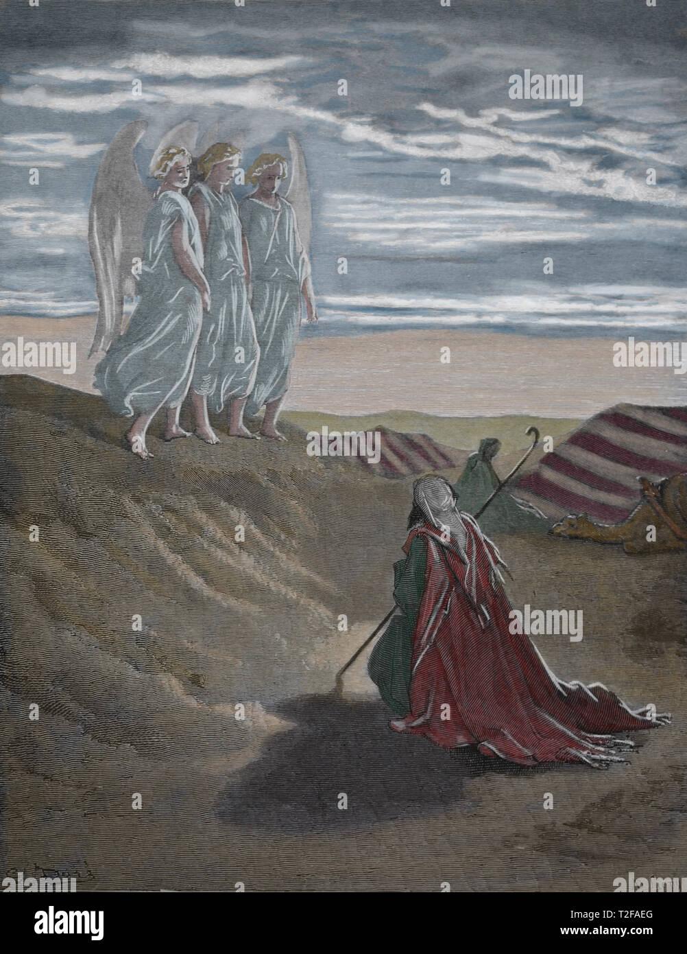 La genèse. Abraham et les trois anges. La Bible. La genèse. Gravure de Gustave Dore, 1866. Photo Stock