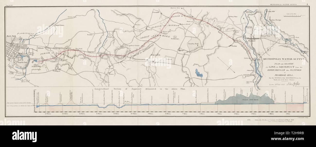 Londres l'approvisionnement en eau. Watford-Primrose aqueduc proposé Hill. TELFORD carte 1834 Photo Stock