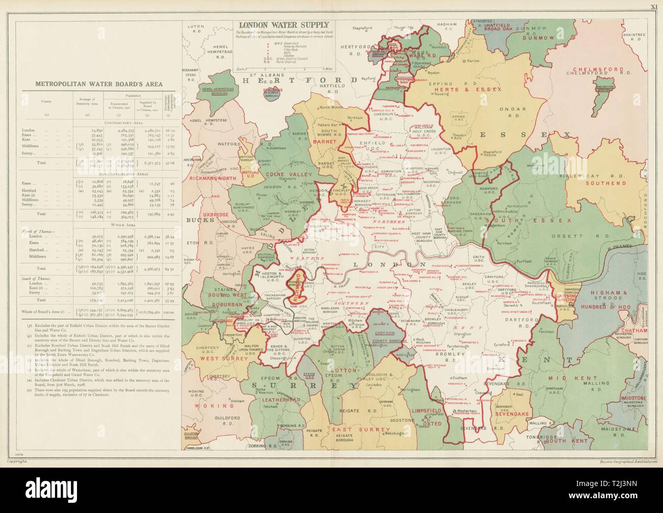 Londres l'APPROVISIONNEMENT EN EAU. Metropolitan Water Board. Pompage réservoirs Stns 1934 map Photo Stock