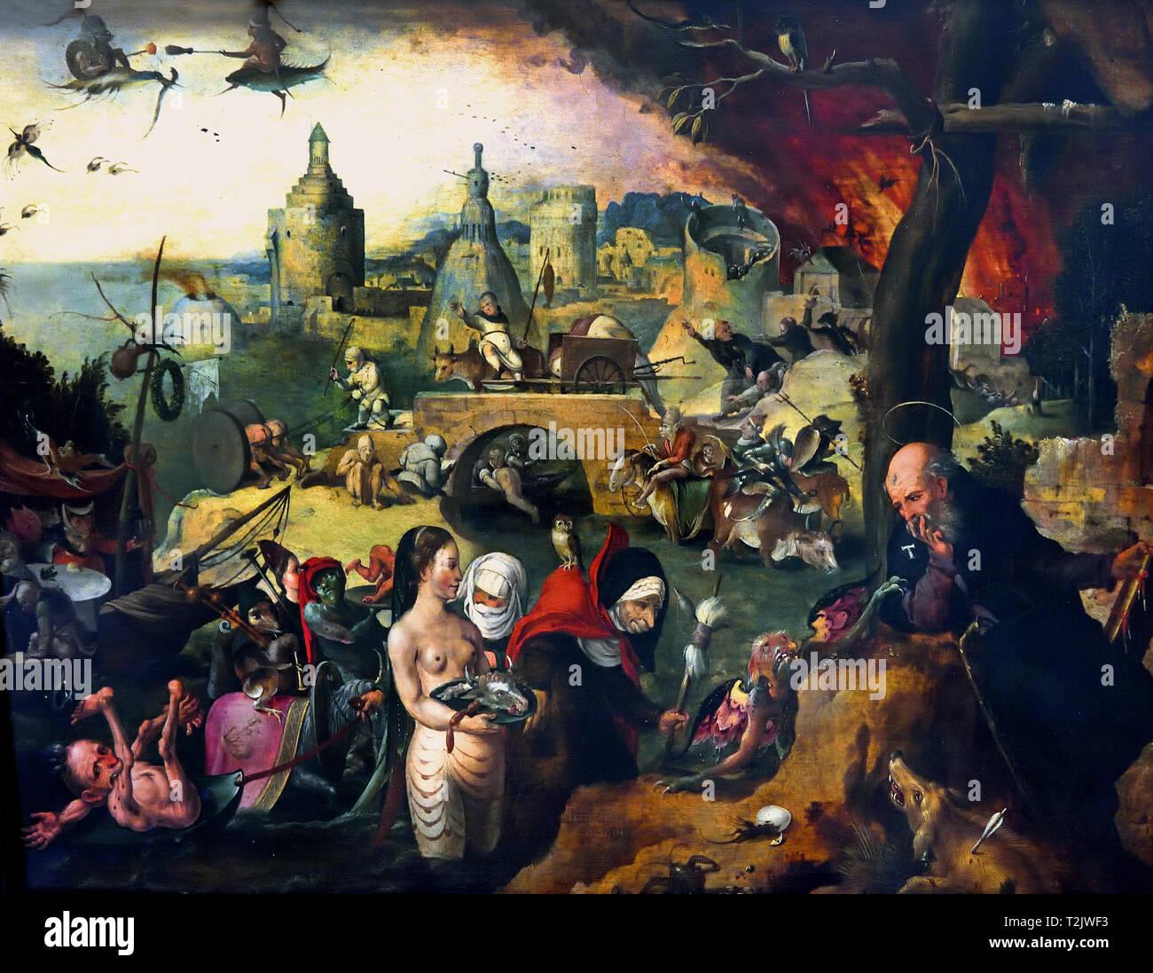 La Tentation de Saint Antoine ( tentés par le Diable ) 1547 Pieter Huys 1519-1584 peintre de la Renaissance flamande. Belgique ( en fonction de la Légende dorée par Jacobus de Voragine 13ème siècle ) Photo Stock