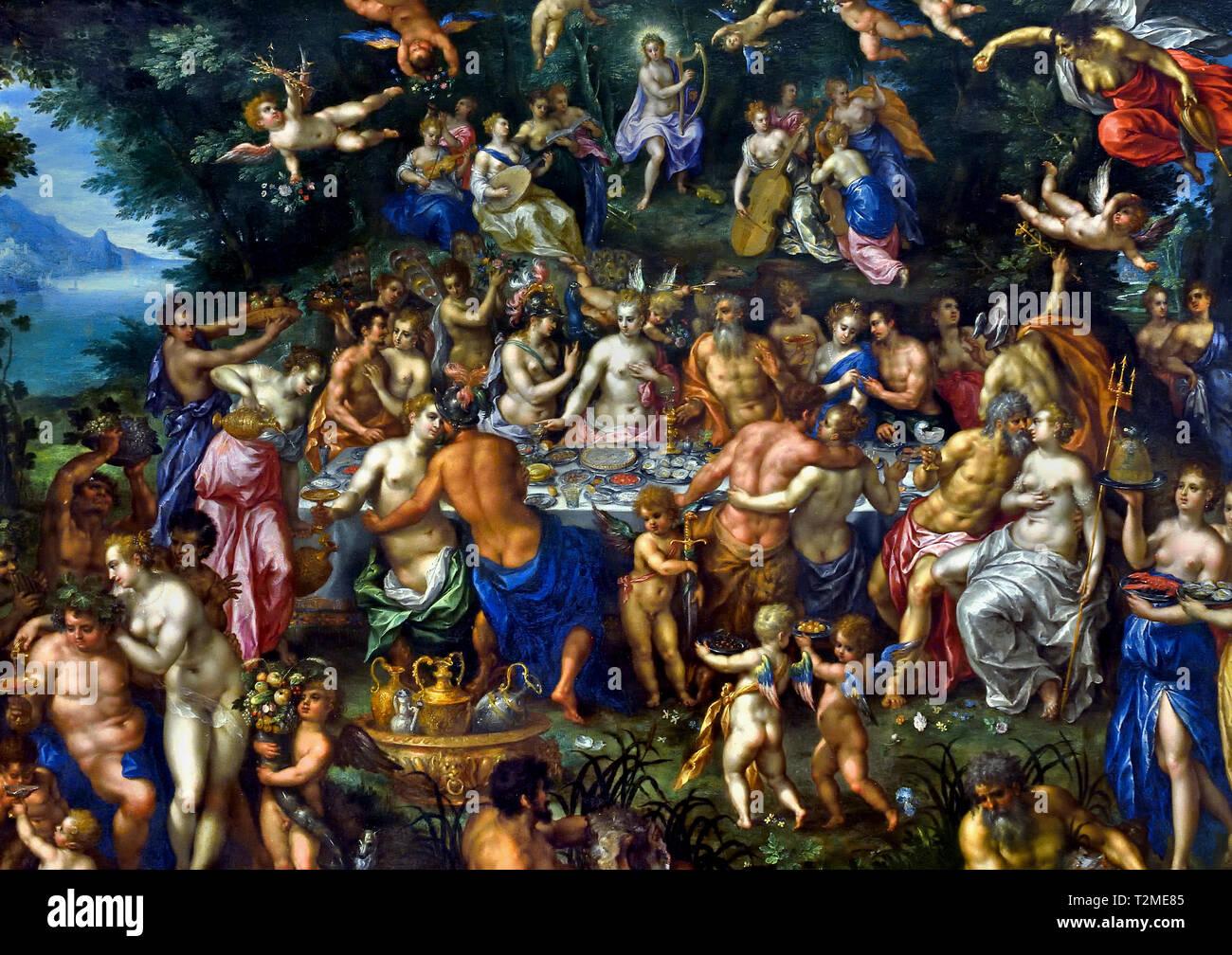 Les noces de Thétis et de Pélée ou le festin des Dieux ( métamorphoses par le poète Latin Ovide 1er siècle après JC ) par Hendrick De Clerck 1570-1629, Belge, Belgique, flamand. Photo Stock