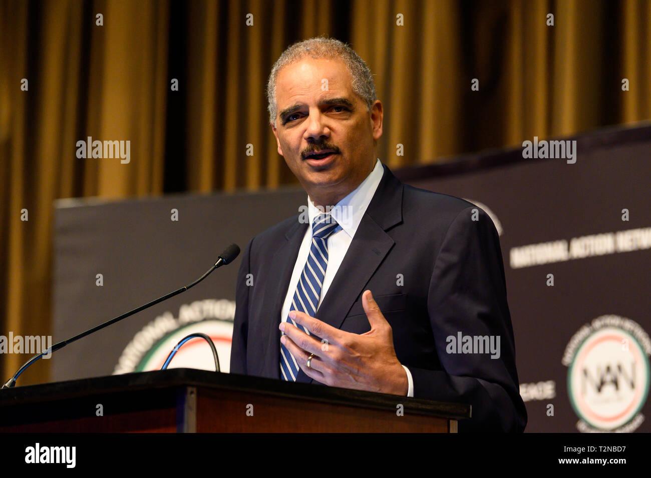 Eric Holder, ancien procureur général des États-Unis, au réseau d'Action National (NAN) convention de New York. Banque D'Images