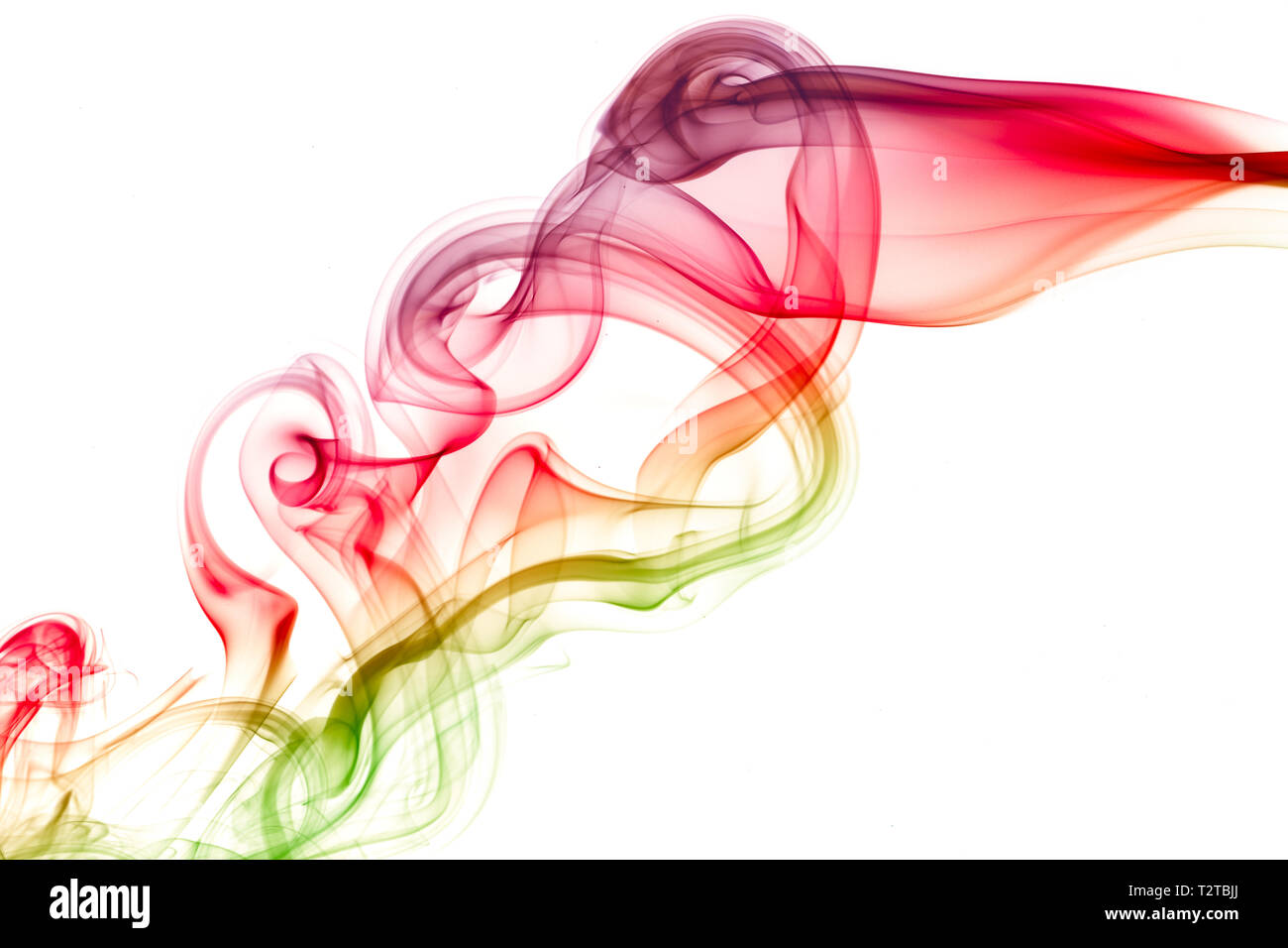 Image abstraite de la fumée de couleur sur fond blanc Banque D'Images