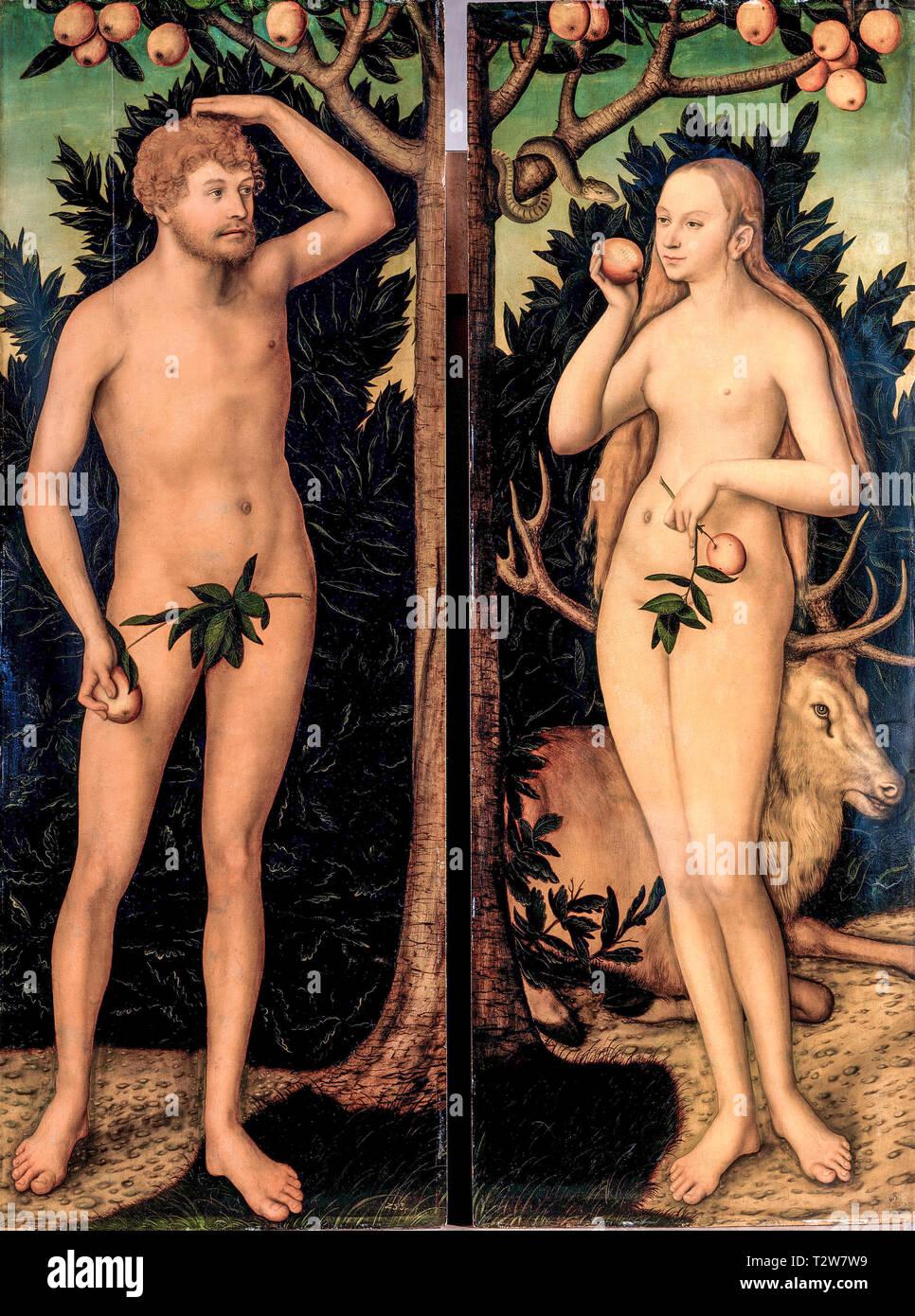Lucas Cranach le Jeune, Adam et Eve, peinture, après 1537 Photo Stock