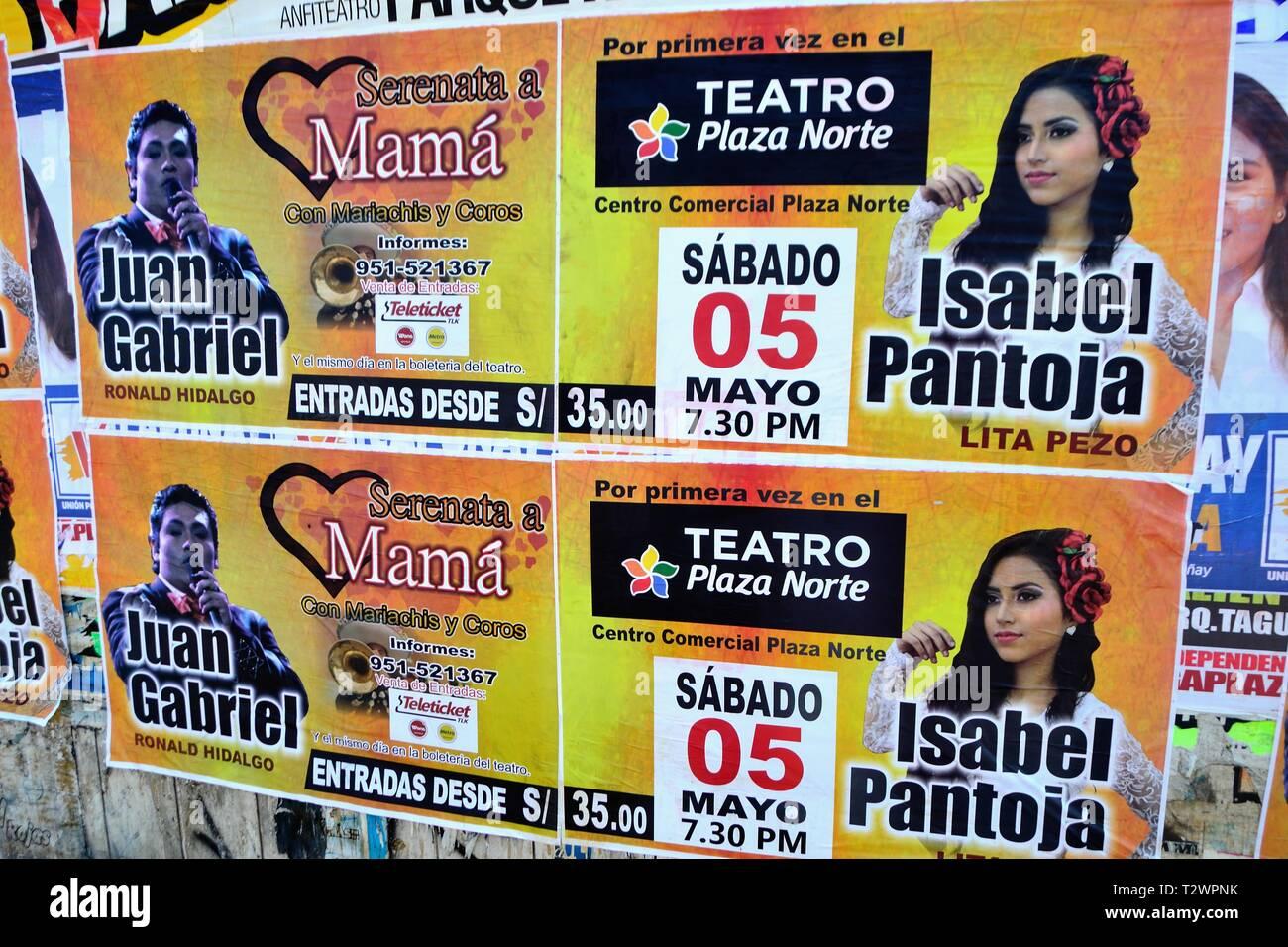 Poster d'imitateurs de célèbres chanteurs - theatre Plaza Norte à Lima. Département de Lima au Pérou. Photo Stock