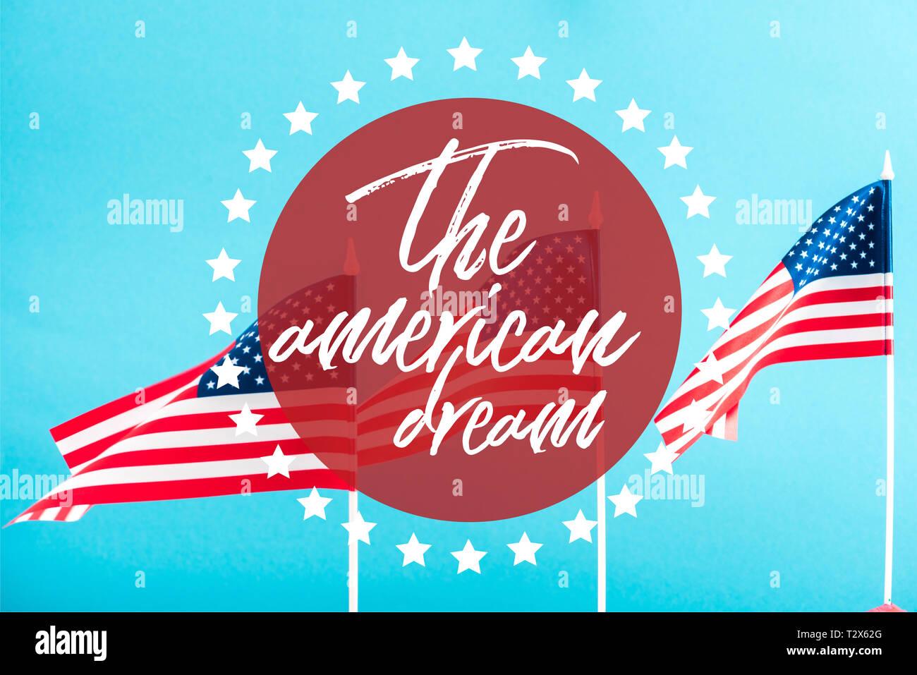 Drapeaux Américains Avec Le Rêve Américain Dans Lcercle
