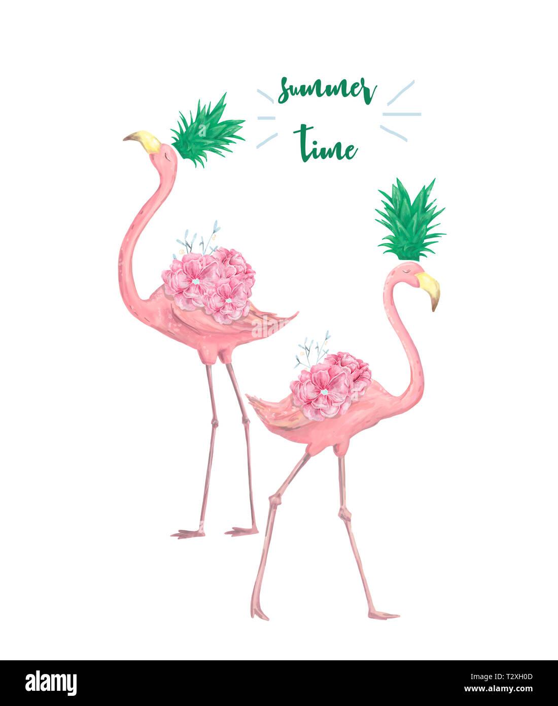 Quelques Flamands Roses Imprimer Tropical Pour Invitation Anniversaire Fete Carte De Souhaits Illustration Photo Stock Alamy