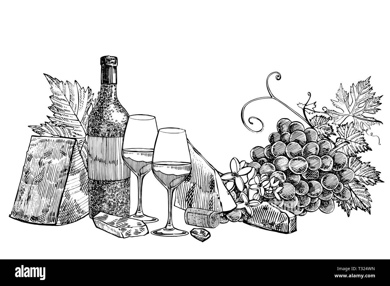 Composition d'une bouteille de vin, deux verres, le parmesan