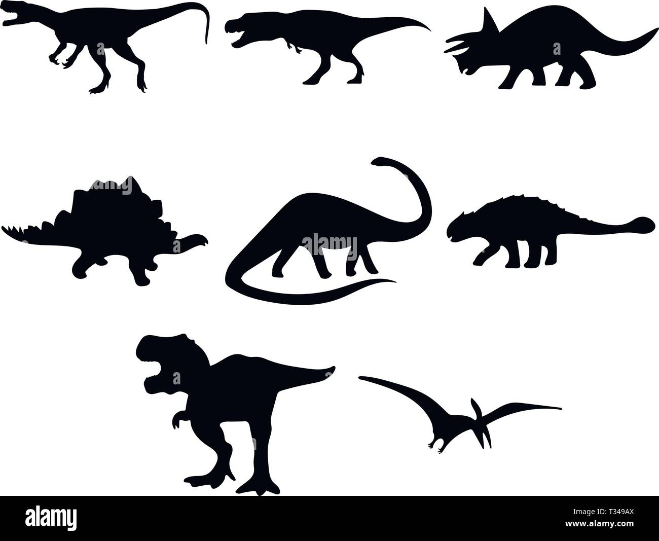 Jeu de silhouettes de dinosaures Photo Stock