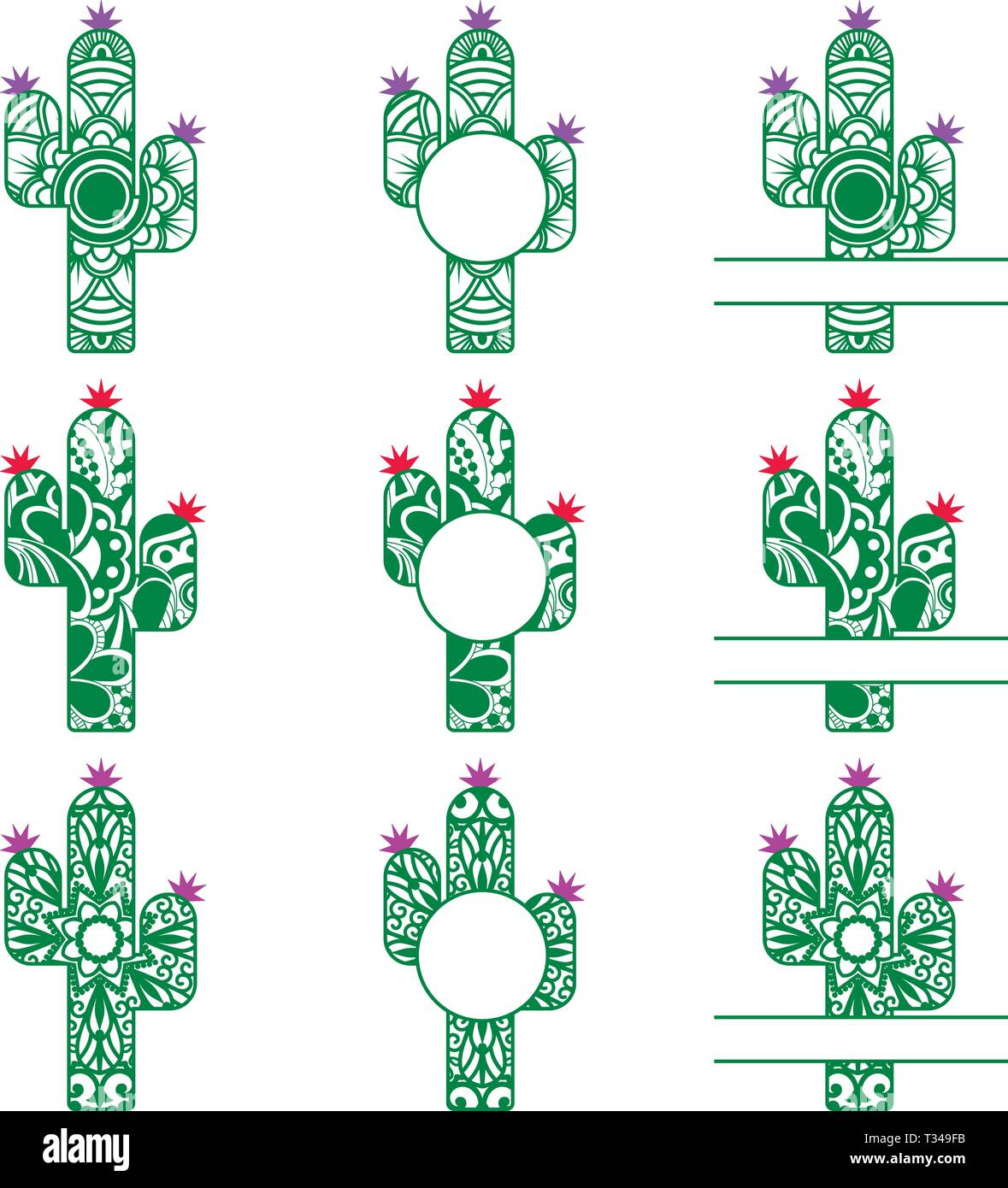 Silhouette Cactus avec monogramme Photo Stock
