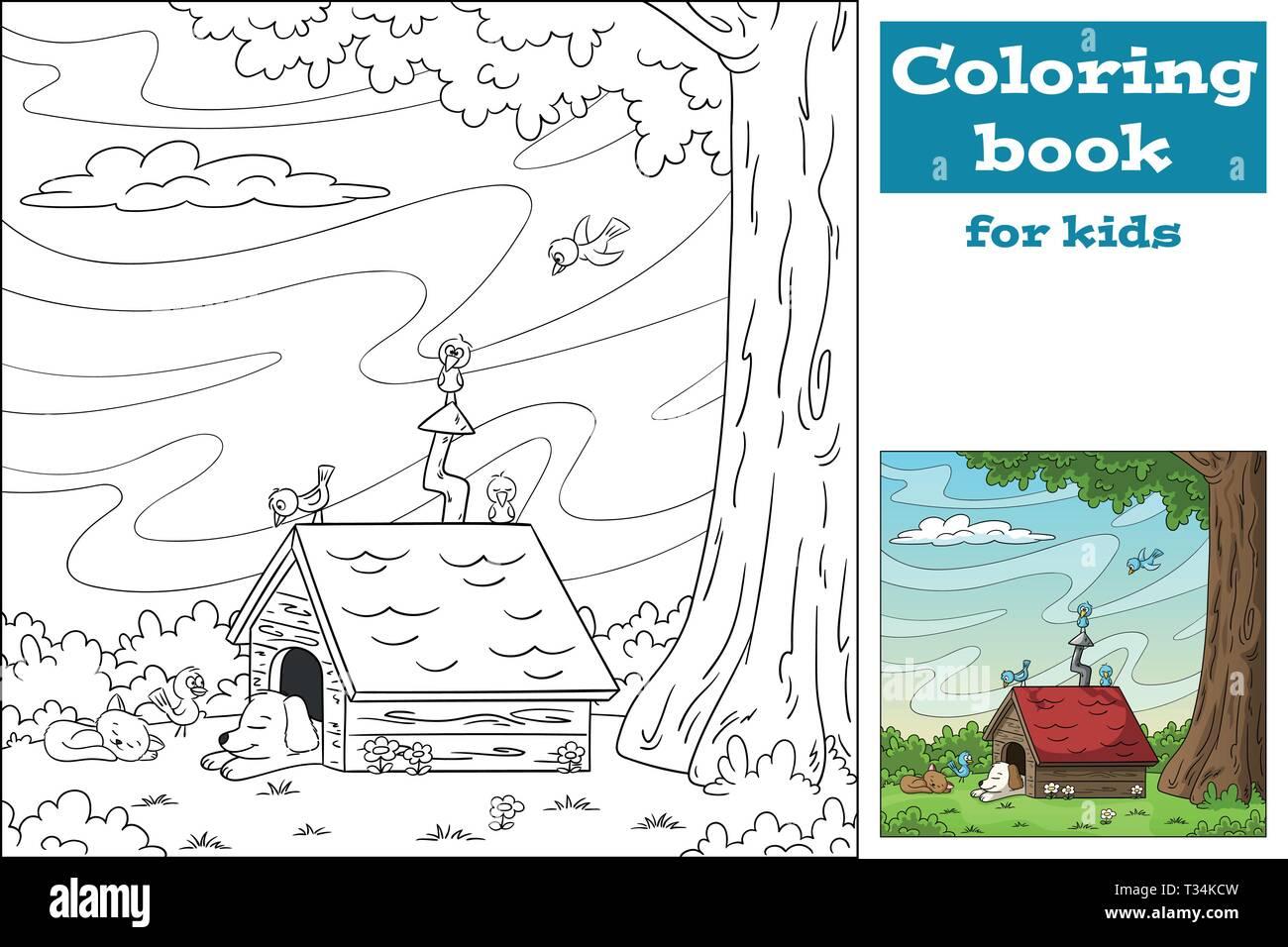 Dessin Avec La Main livre de coloriage pour les enfants. dessiner à main vector