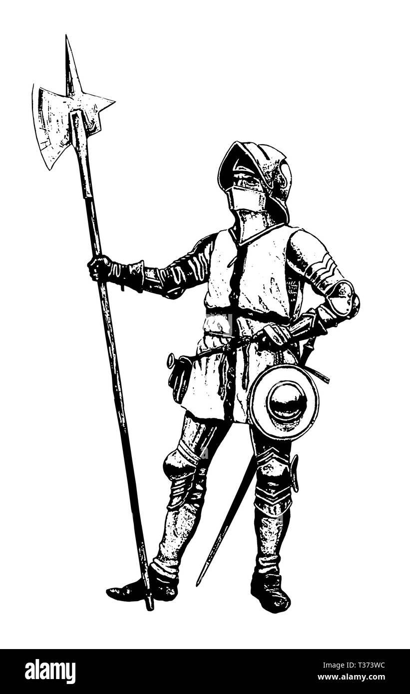 Chevalier Teutonique Illustration Soldat Medieval Avec Hallebarde Dessin Des Croises Photo Stock Alamy