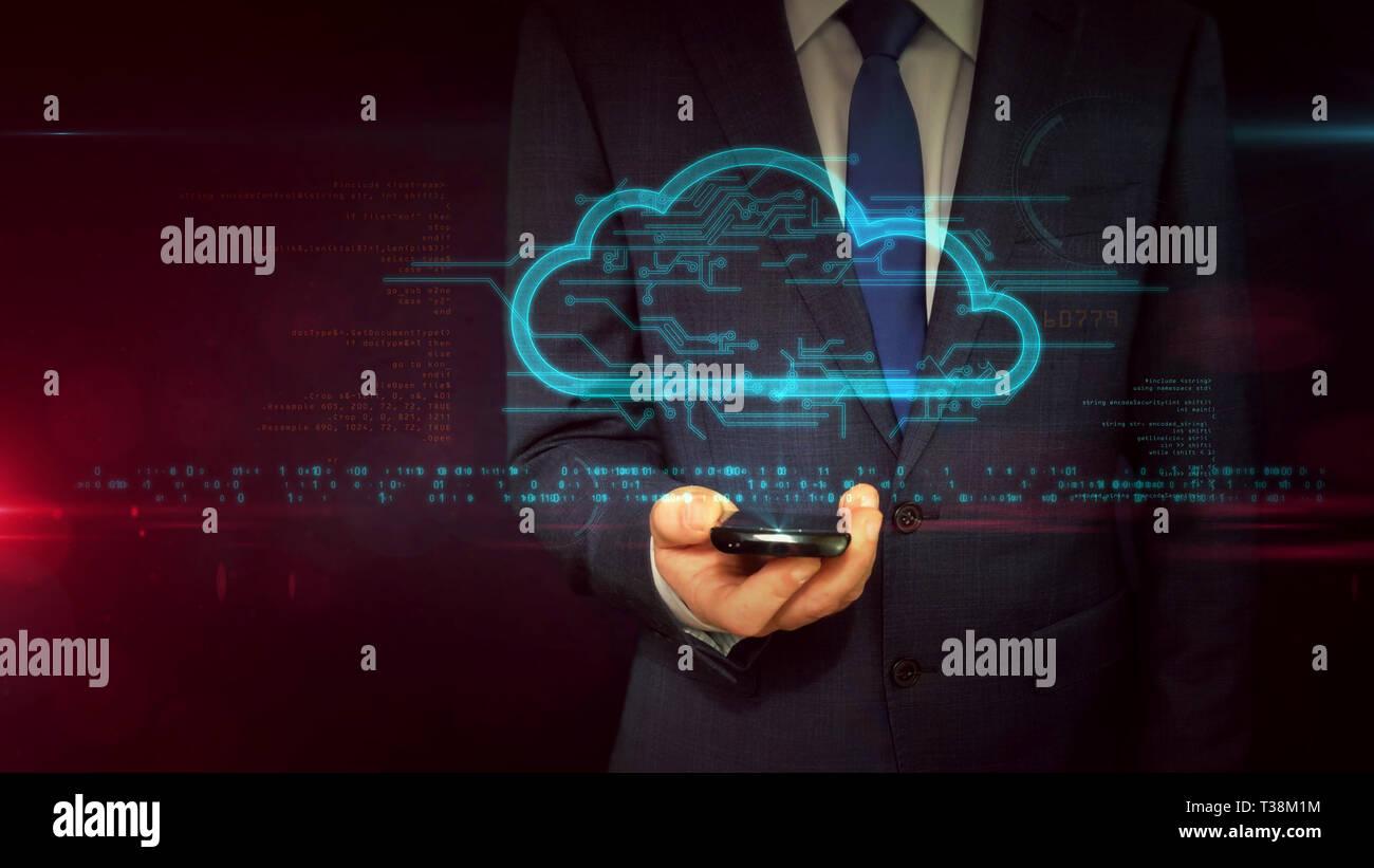Homme d'affaires en fonction de l'utilisation de smartphone avec cloud hologramme. Cloud Computing et symbole de stockage de données concept abstrait. Technologie futuriste. Banque D'Images