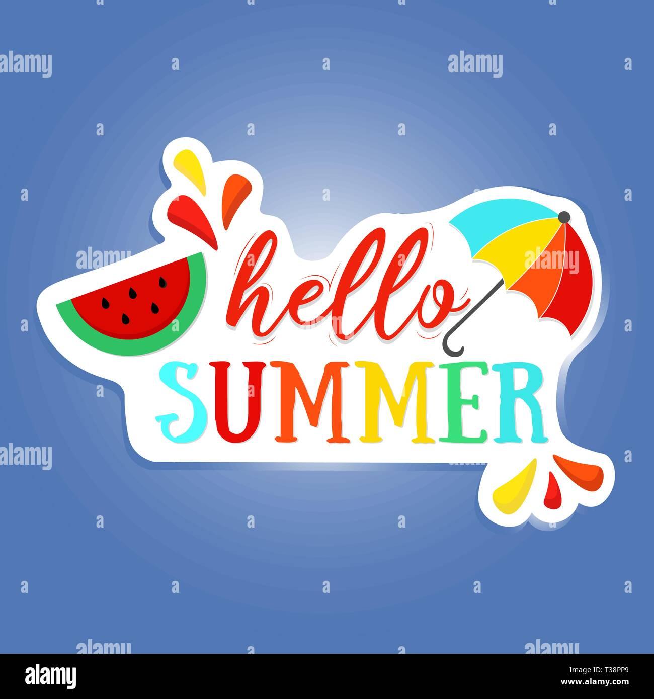 Lettrage brosse Hello Summer phrase. Vector illustration. vector poster bonjour l'été. Photo Stock