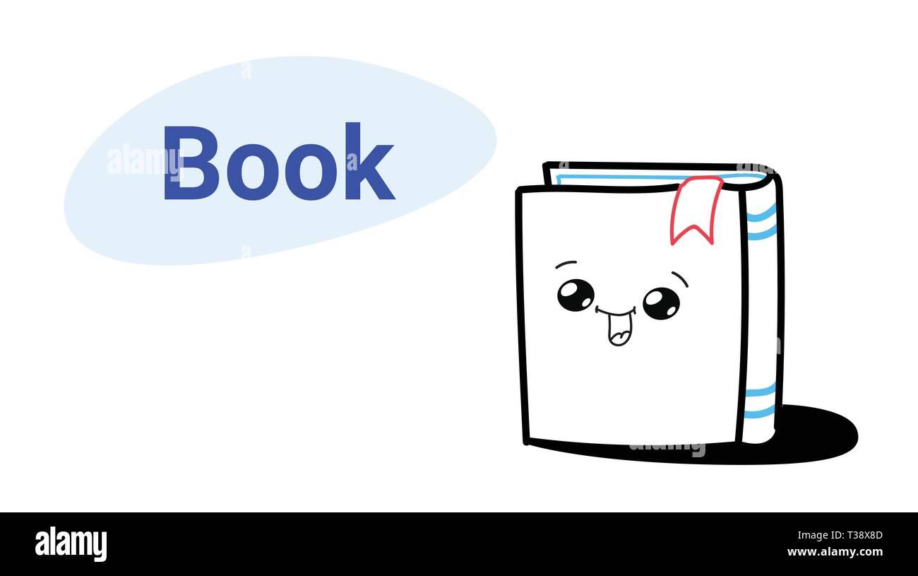 Livre Cute Cartoon Personnage Comique Avec Sourire Heureux