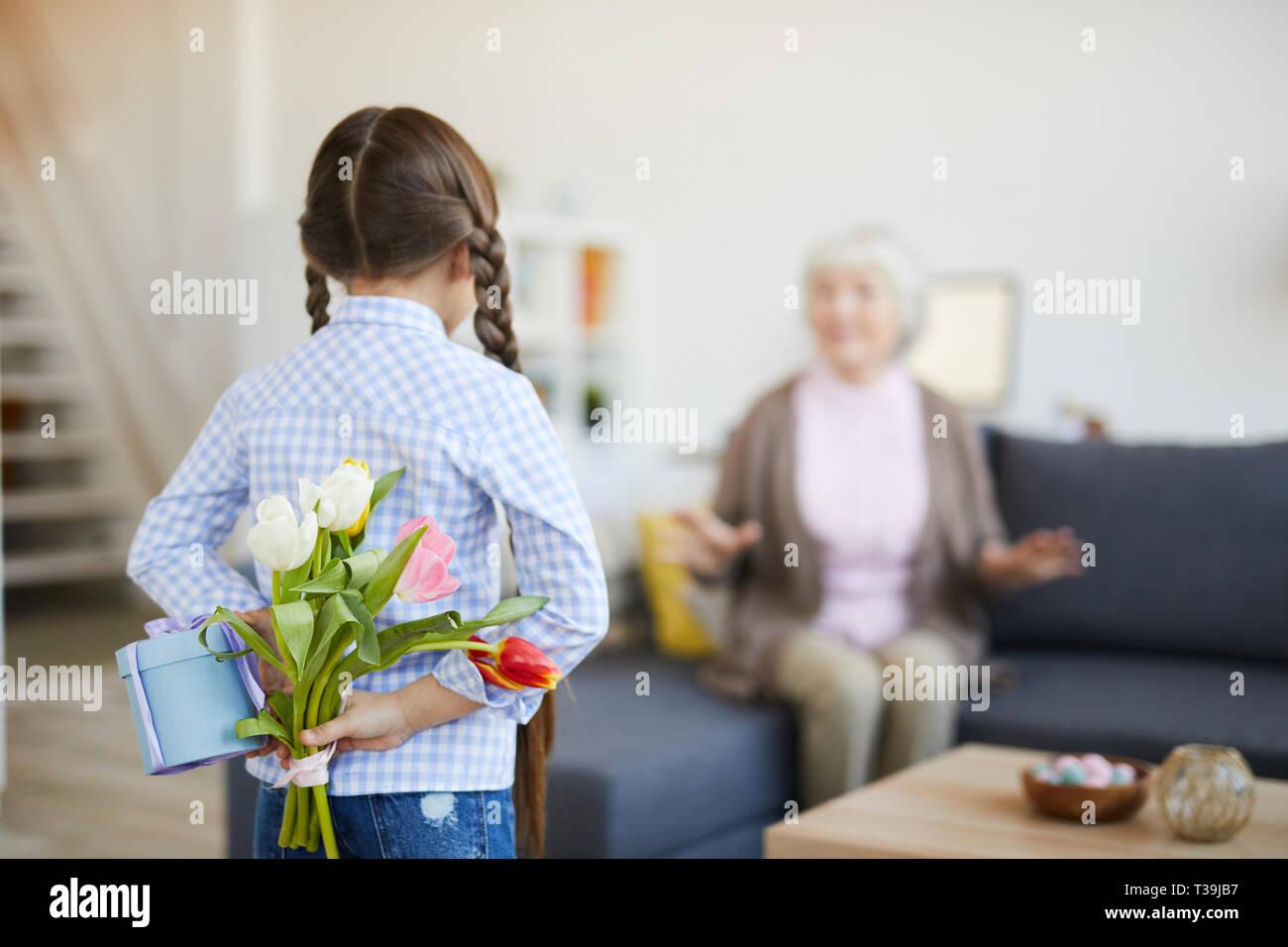 Grand-mère fille surprenant Photo Stock