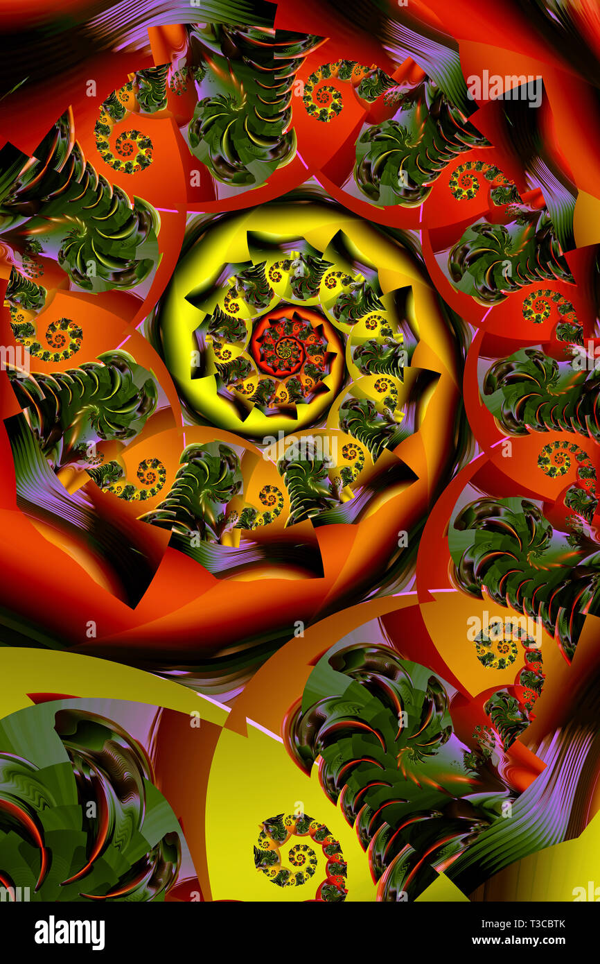 Orange Rouge Spinning récursif Abstract Pattern Photo Stock