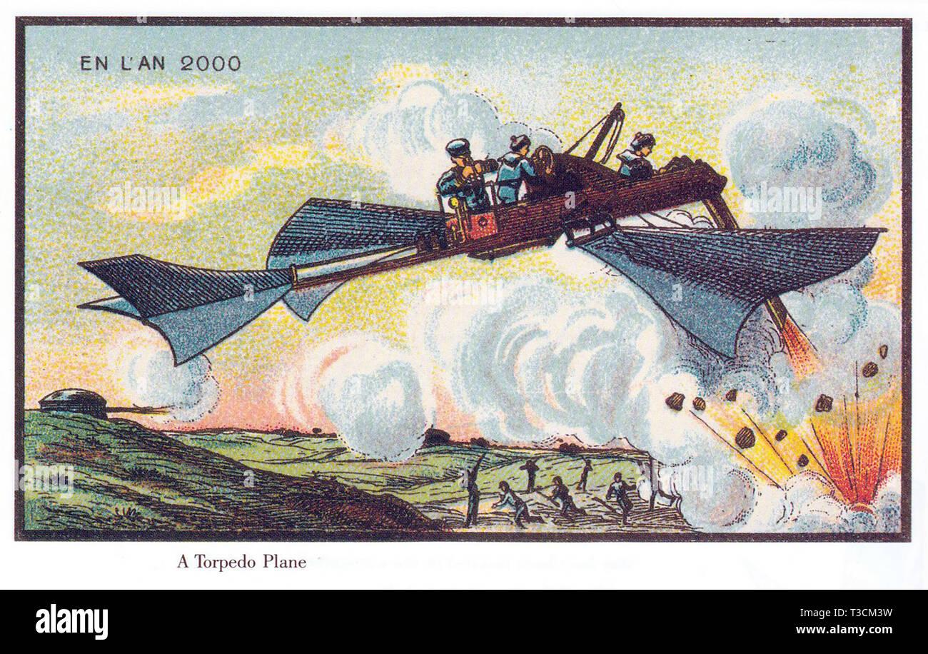 Au cours de l'année 2000 Série d'illustrations publiés en français entre 1899 et 1910 montrant l'imaginaire du progrès technologique. La guerre aérienne. Photo Stock