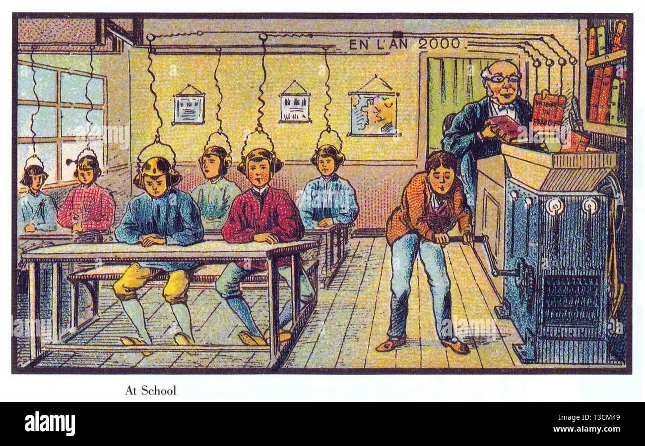 Au cours de l'année 2000 Série d'illustrations publiés en français entre 1899 et 1910 montrant l'imaginaire du progrès technologique. L'apprentissage automatique à l'école. Photo Stock