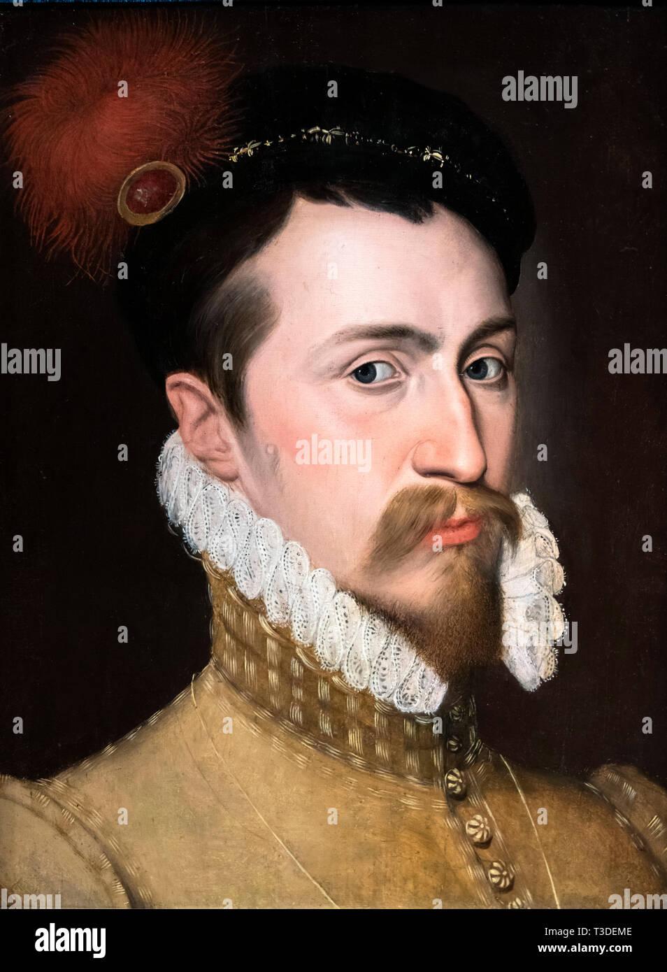 Robert Dudley (1532/3-1588), 1er comte de Leicester et favori de la Reine Elizabeth I, huile sur panneau par artiste inconnu, c.1565-70 Photo Stock
