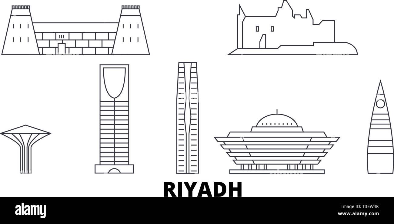 L'Arabie saoudite, Riyad skyline voyages en ligne. L'Arabie saoudite, Riyad contours city vector illustration, symbole de voyage, sites touristiques, monuments. Illustration de Vecteur