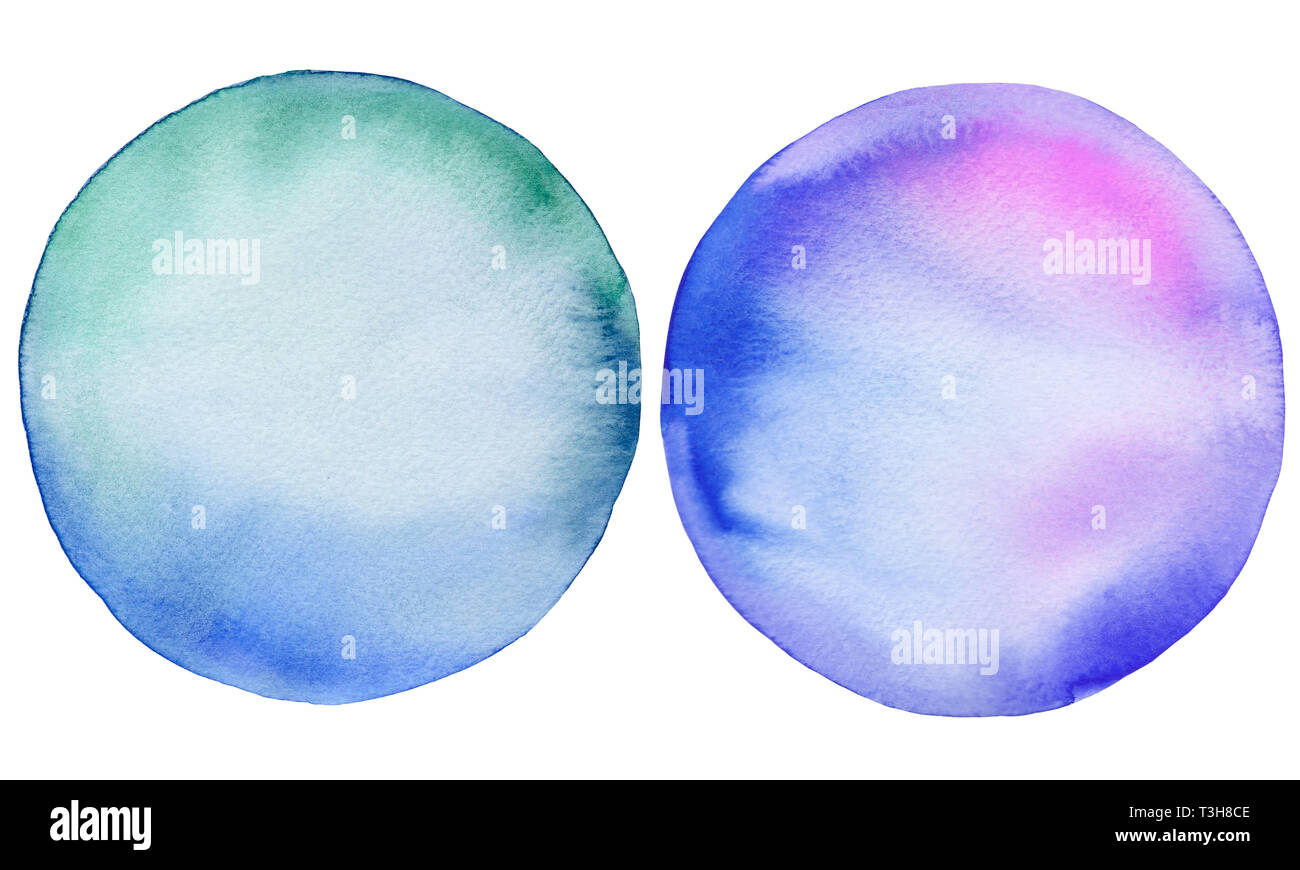 Deux cercles d'aquarelle. Bleu et violet bulles rondes. Illustration dessinée à la main. Photo Stock