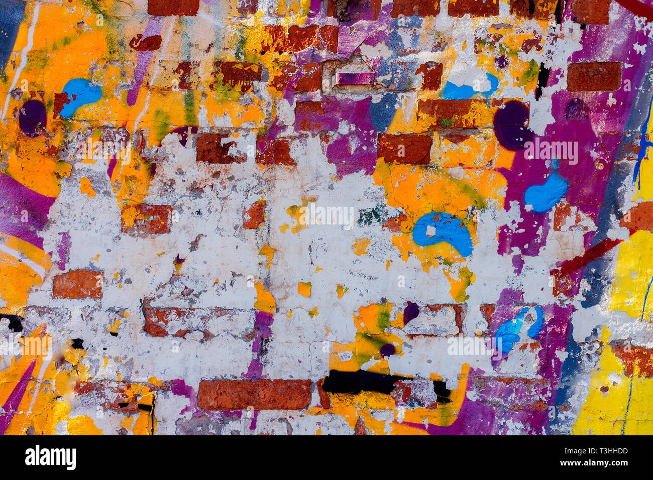 Vieux Mur Avec Beaucoup De Différentes Couleurs De Peinture