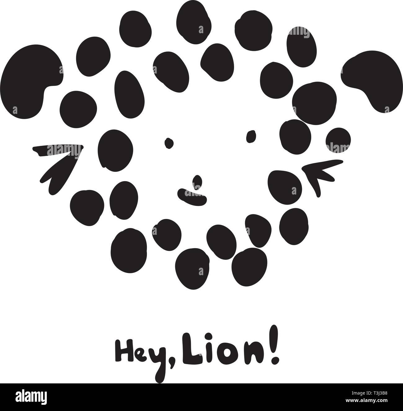 Funny Kids Imprimer Avec Tête De Lion Et Lion Hey Lettrage