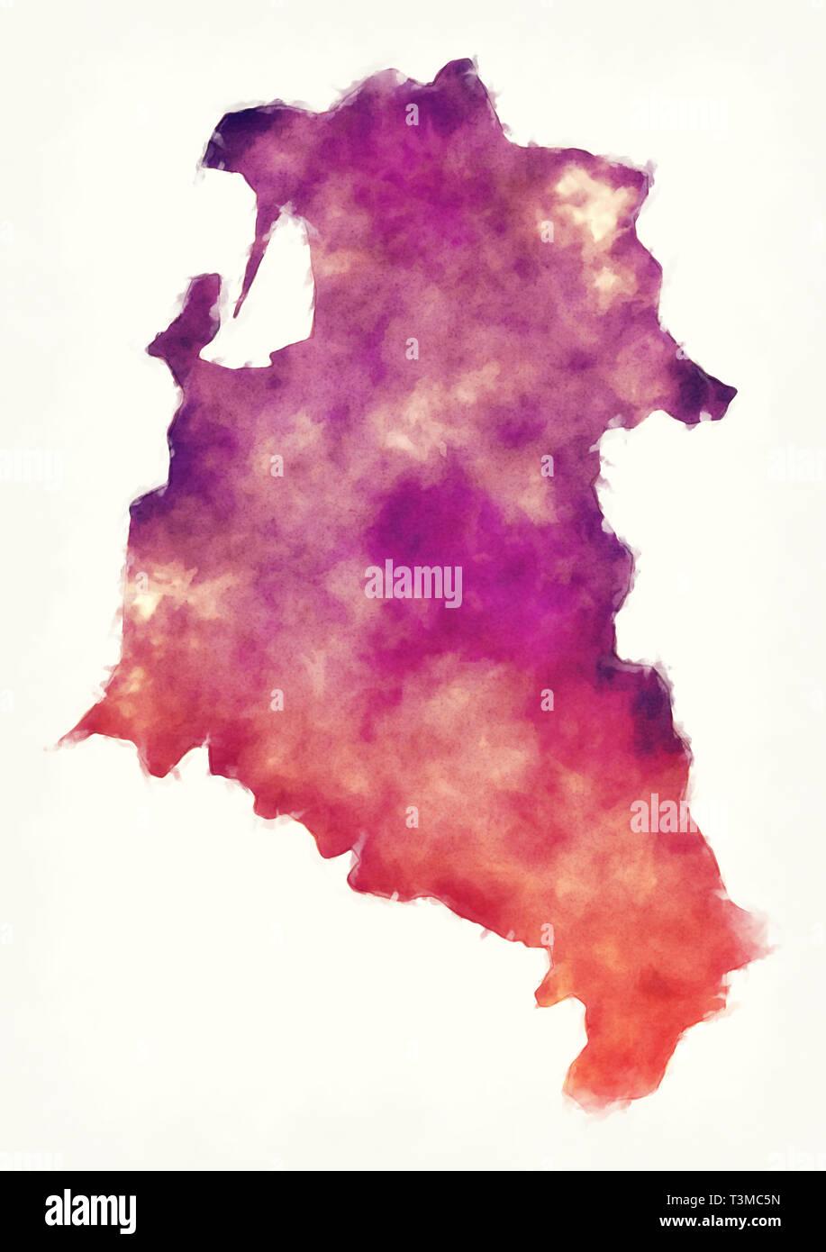 Aquarelle de Fier county carte de l'Albanie Photo Stock