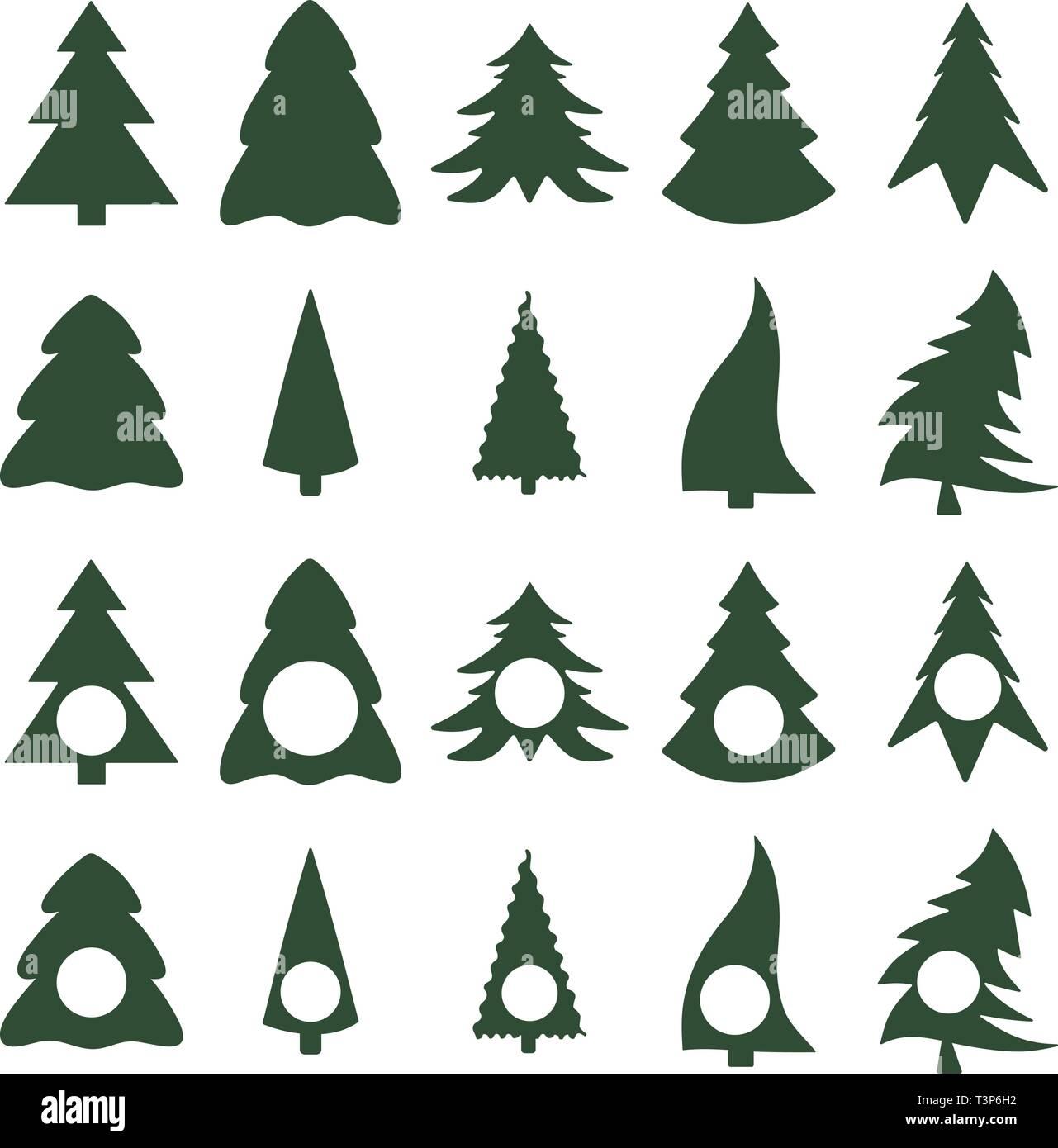 Silhouettes d'arbres de Noël avec monogramme Photo Stock