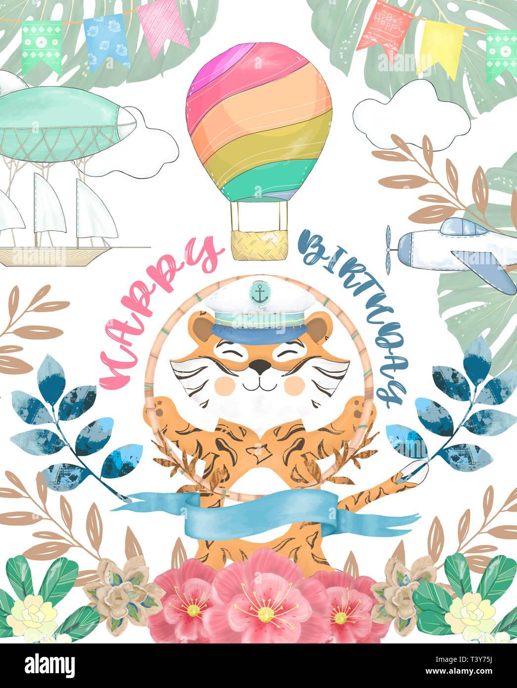 Joyeux Anniversaire Carte Avec Aquarelle Tigre Mignon Animal Mignon