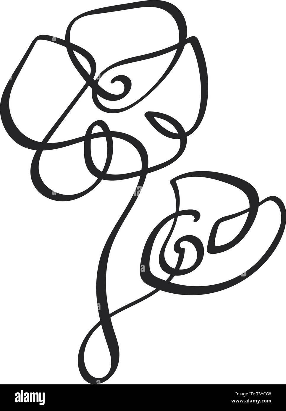 Ligne Continue Dessin à La Main Fleur Vecteur Calligraphique