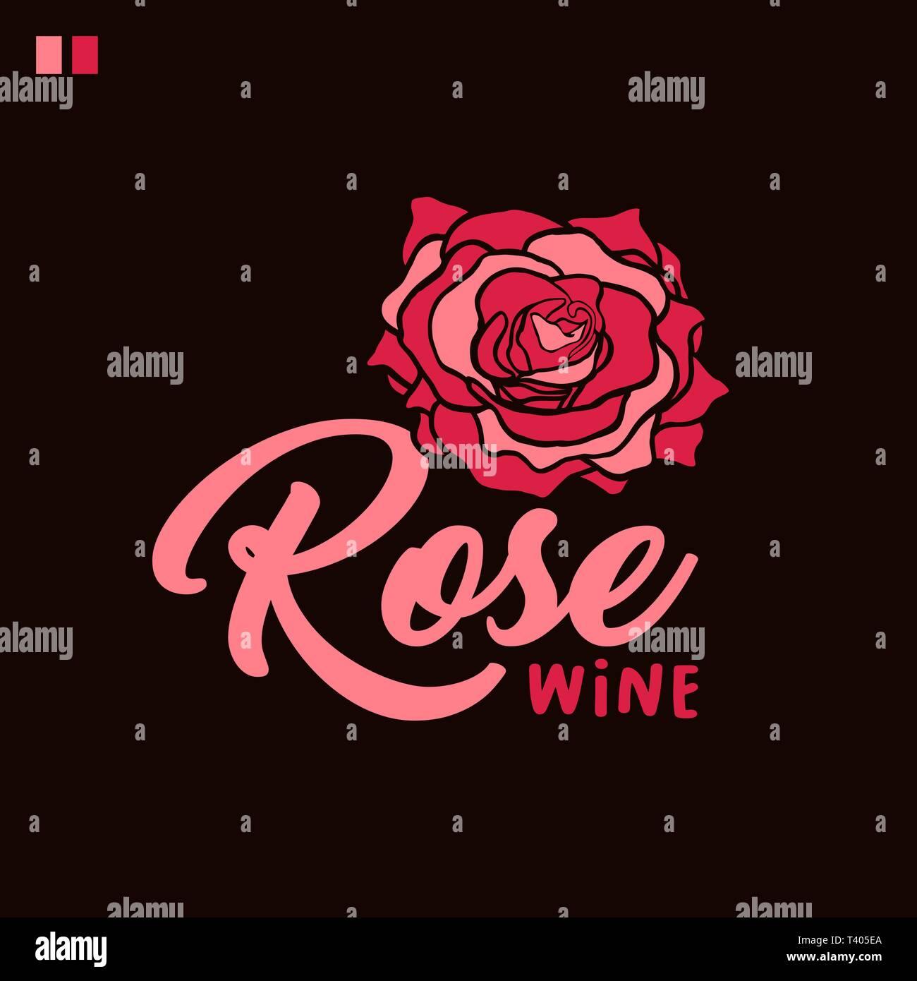 Vin Rose Vector Illustration Couleur De Lettrage Dessin