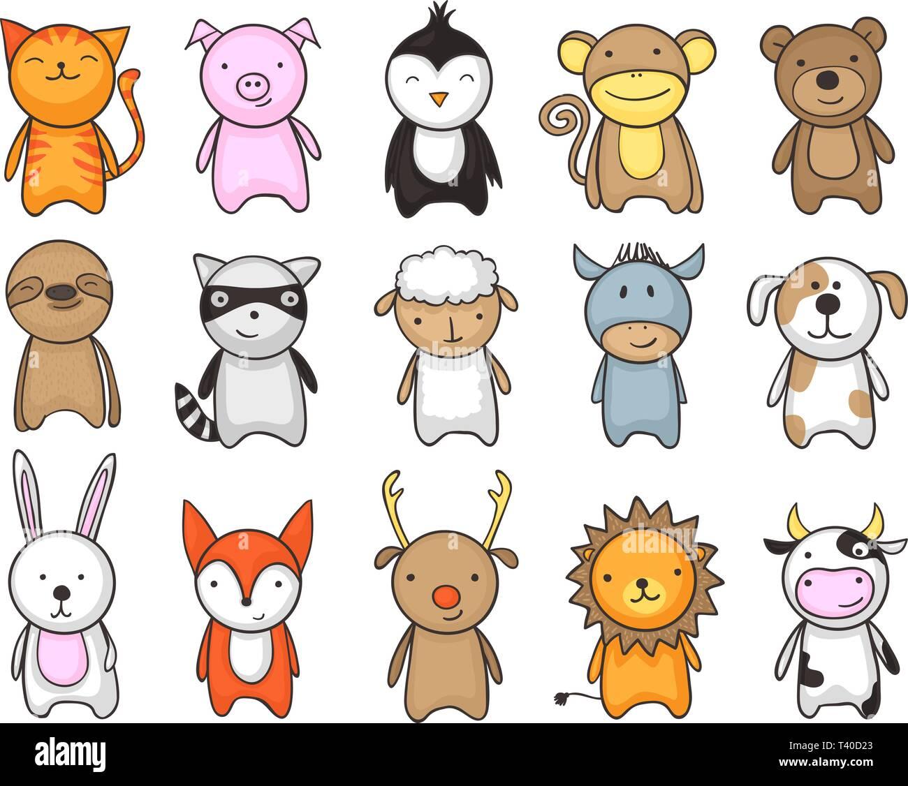 Dessin Enfantin Et Simple De Mignons Petits Animaux Pour Les Enfants Image Vectorielle Stock Alamy