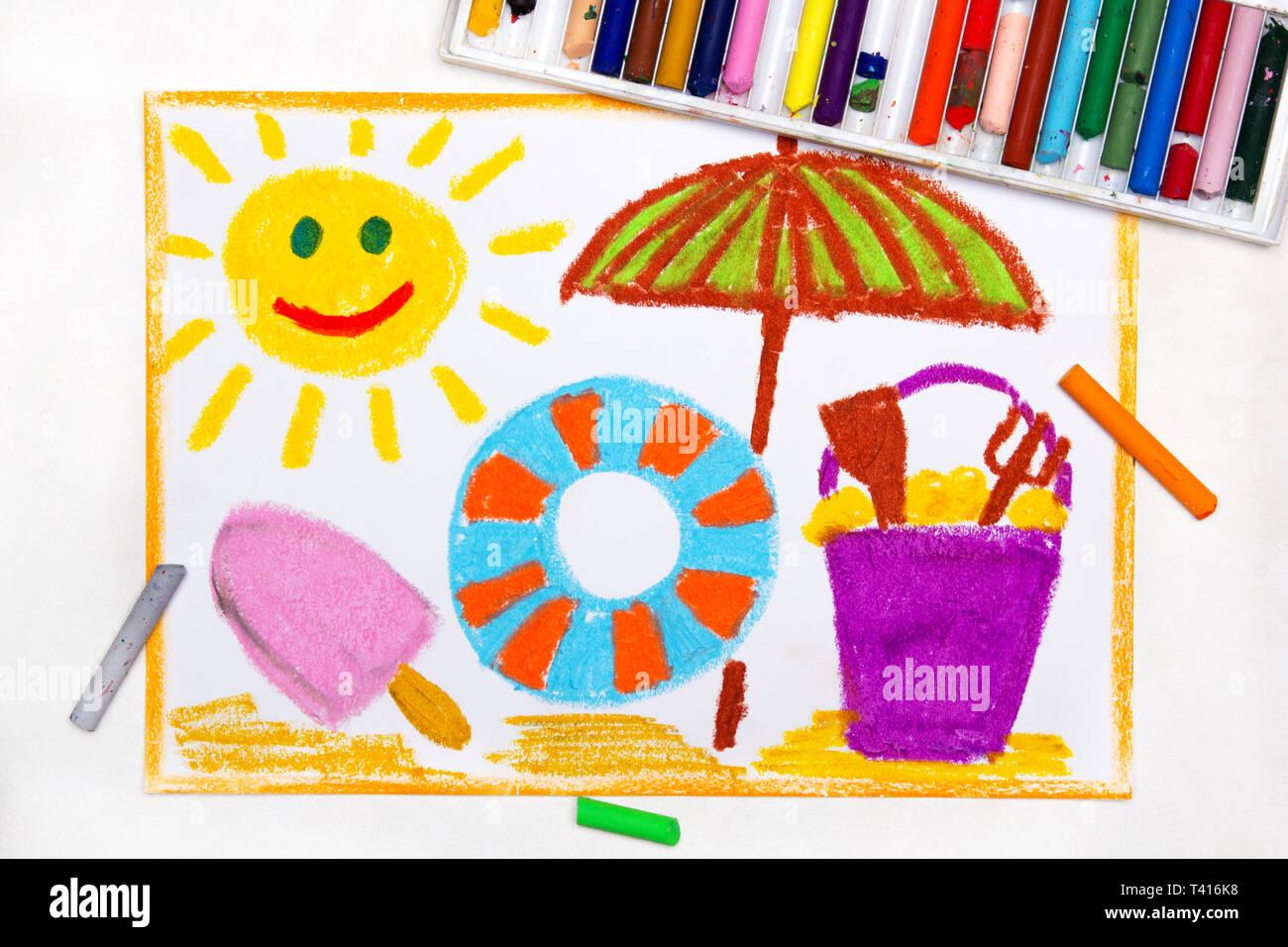 Dessin Coloré Vacances à La Plage Soleil Souriant Glaces