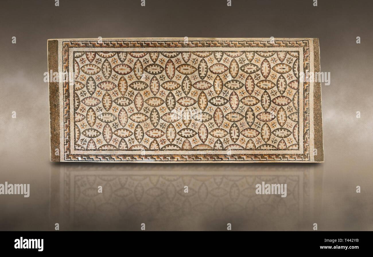 Photos d'une mosaïque romaine géométrique, à partir de l'ancienne cité romaine de Thysdrus. 3e siècle. El Djem Musée Archéologique, El Djem, Tunisie. Photo Stock