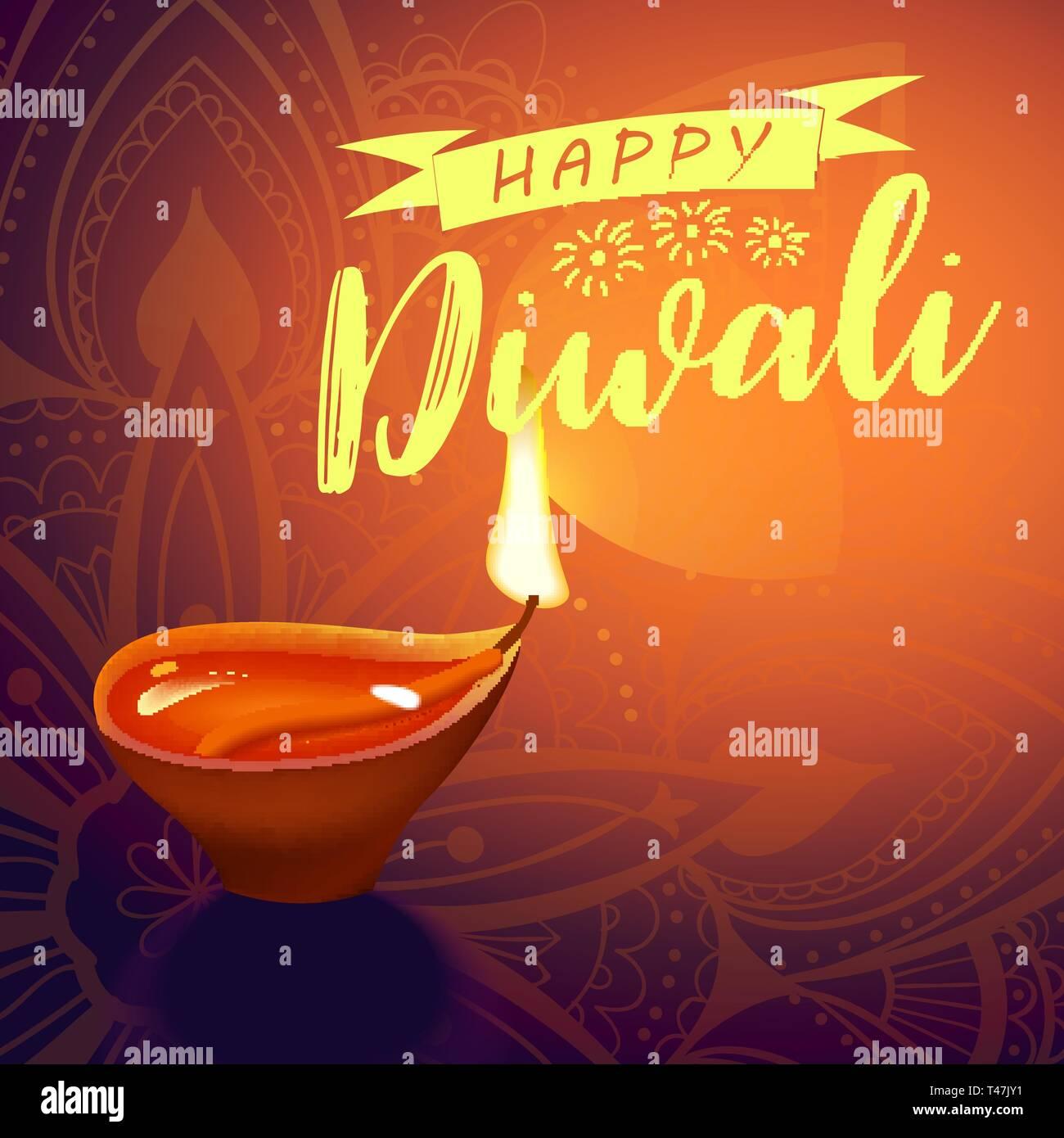 Carte postale pour Diwali festival avec lampe indien réaliste avec feu flamme et mandala. Happy Diwali concept, en 1914. Typographie affiche ou logo pour Photo Stock