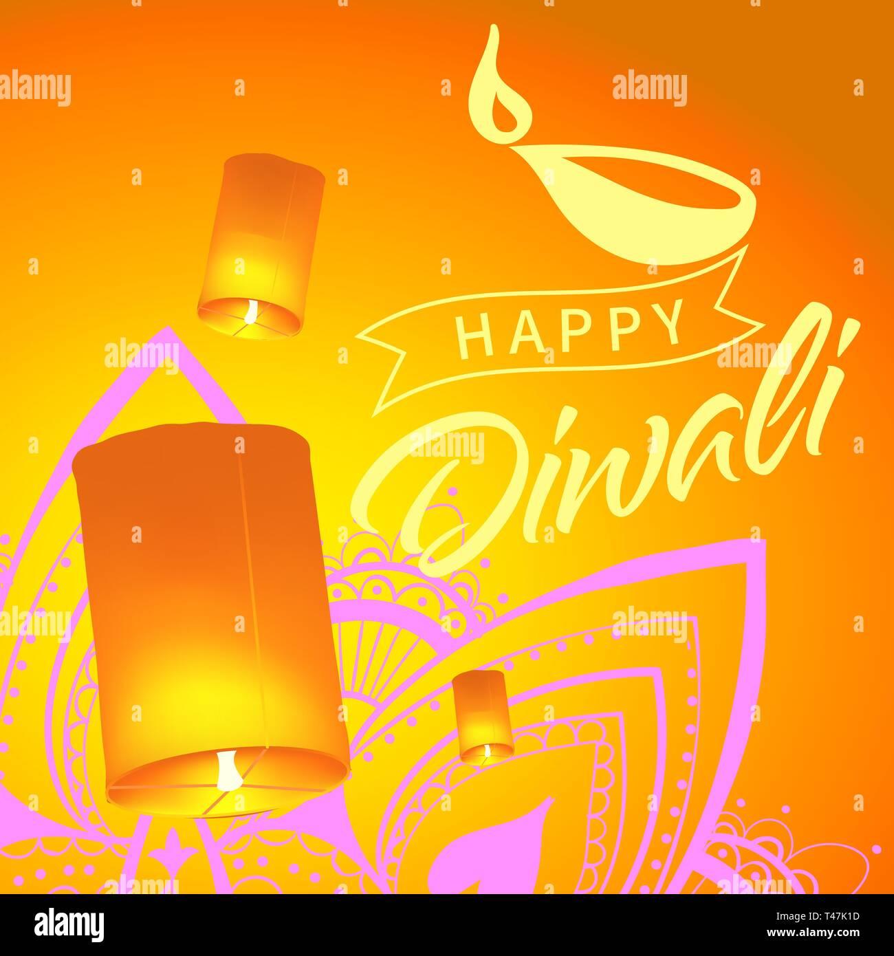 Carte postale pour Diwali festival avec lanternes de ciel réaliste et mandala. Happy Diwali concept, en 1914. Typographie affiche ou logo pour festival du Diwali Photo Stock