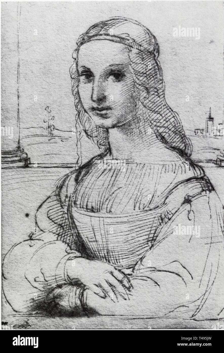 .RAPHAEL.ETUDE POUR LE PORTRAIT DE MADDALENA DONI.DESSIN.1505-1506 Banque D'Images