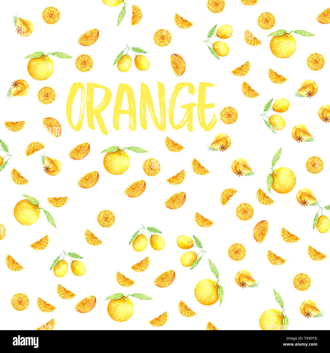 Fruits orange aquarelle. Peinture fraîche illustration couleur d'art dessinés à la main, élément juteux sur fond blanc Photo Stock