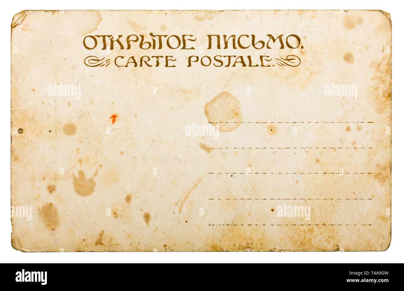 Retro post card isolated on white Photo Stock