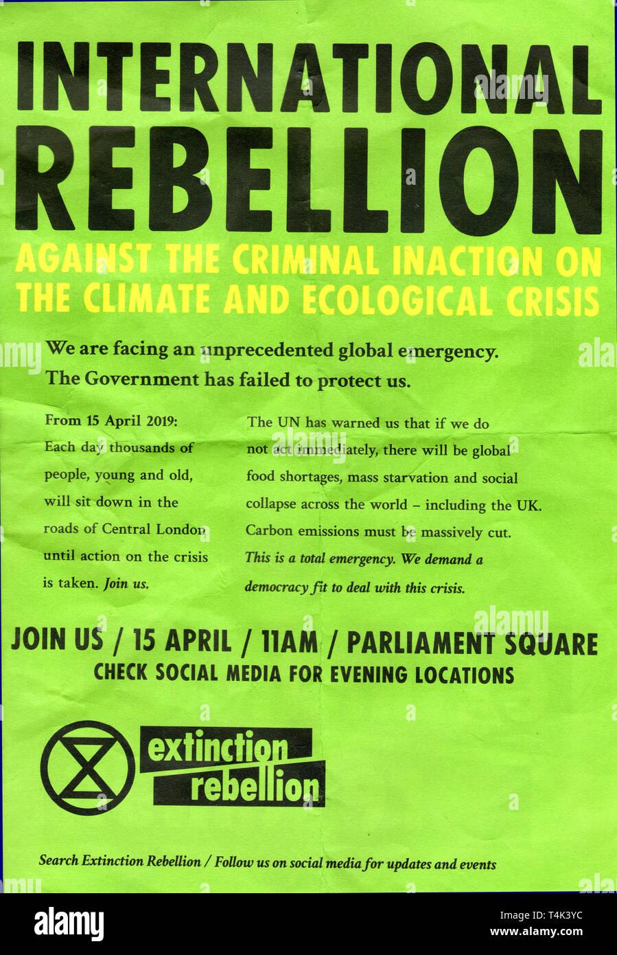 Rébellion Extinction notice. Banque D'Images