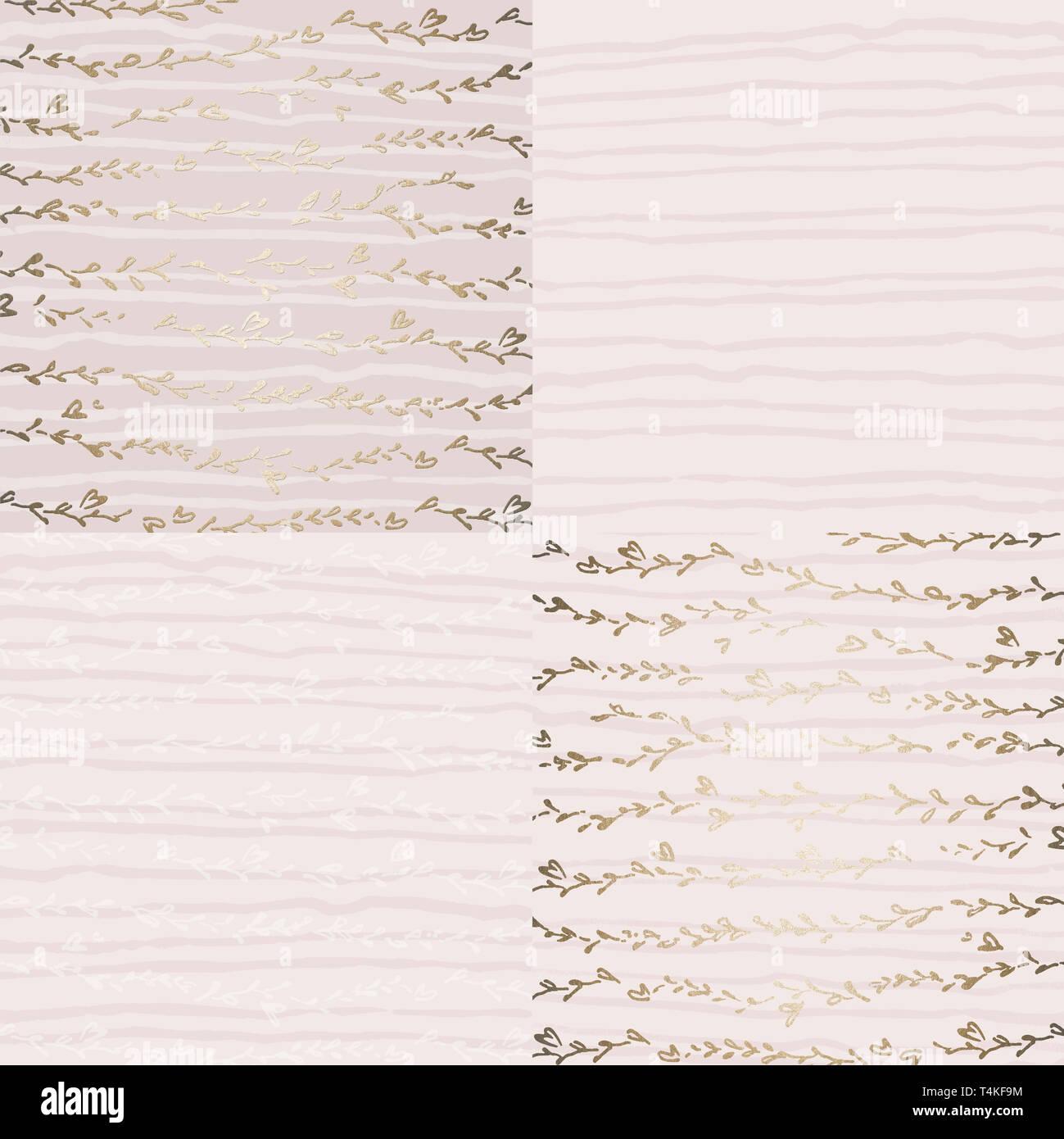 Les modèles de luxe avec feuille d'or. Éléments d'or feuille décor de lignes. Fond clair. Set de textures. Impression de haute qualité. Banque D'Images