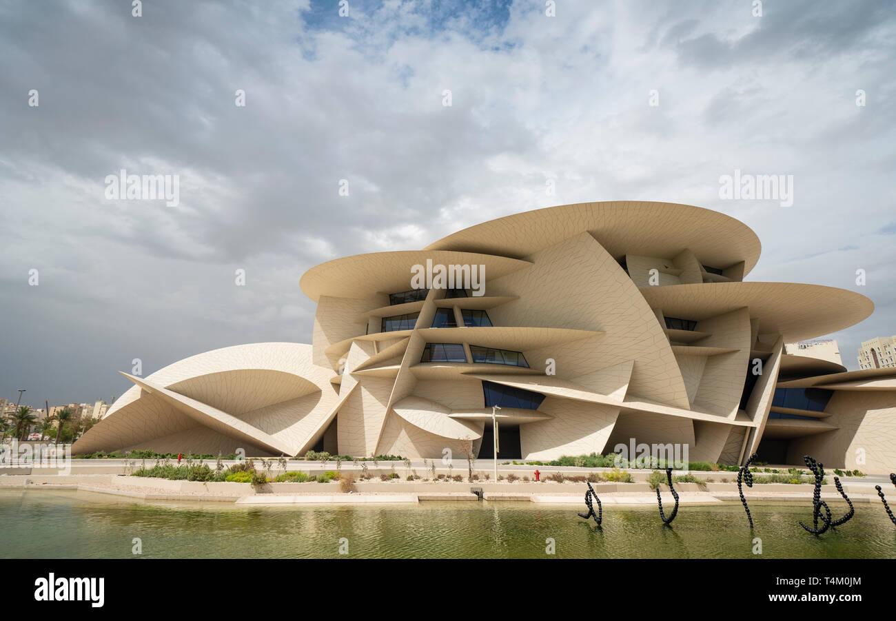 Avis de nouveau Musée national du Qatar, à Doha, Qatar. L'architecte Jean Nouvel. Banque D'Images