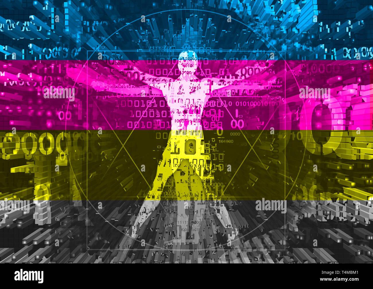 Homme de Vitruve en explosion de couleurs d'impression des données informatiques et de rayures. Illustration futuriste avec un homme de Vitruve de codes binaires symbolisé digital Banque D'Images