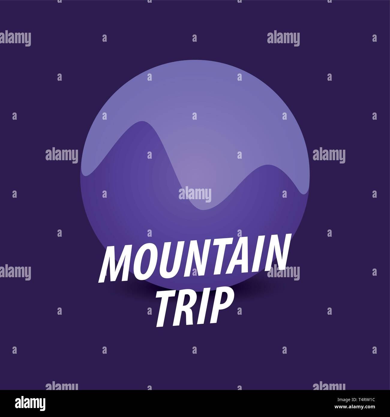 Voyage Montagne Ronde, logotype vectoriel en violet Illustration de Vecteur